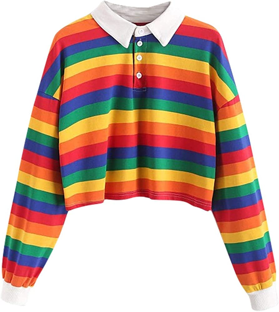 Sudadera de Mujer, Otoño Verano Moda Arcoiris Impresión Camiseta de Manga Larga Camisa Blusa Camiseta Casual Tops Fiesta T-Shirt Original tee vpass: Amazon.es: Ropa y accesorios
