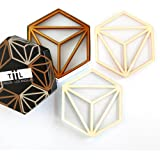 Hexa Drink Coaster Set By TiiL. Set of 6 Modern Coasters for Drinks Plus Gift Box (Copper and Ash)