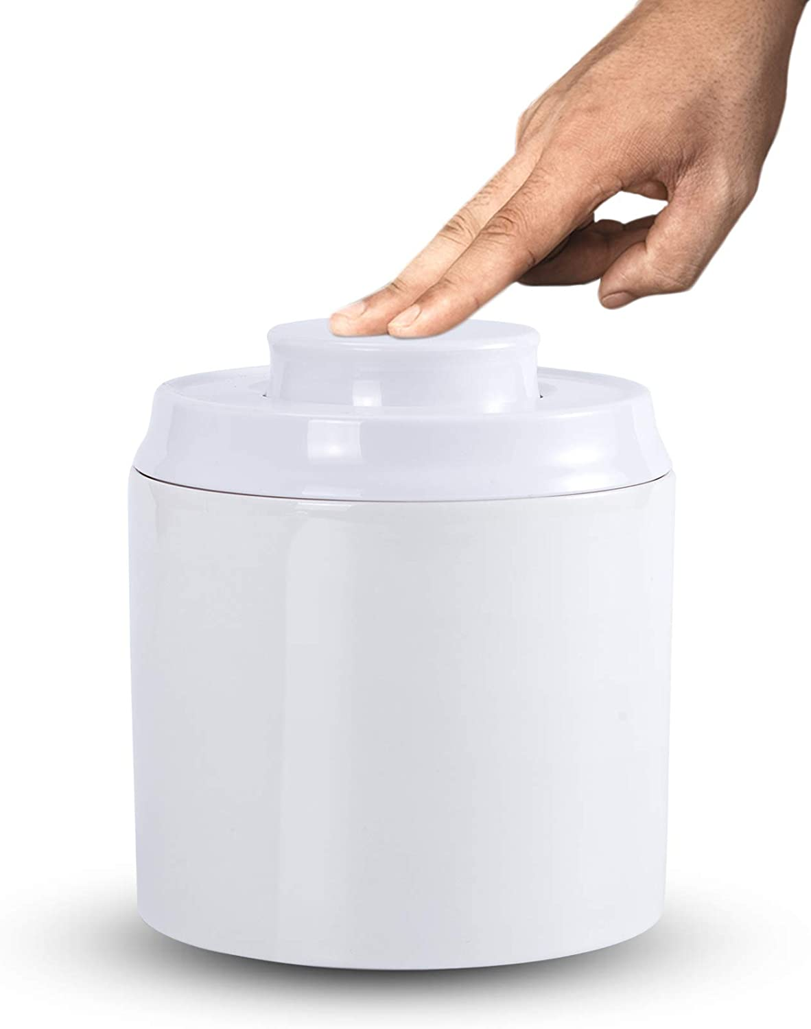 SIDUCAL Food Storage Containers, Cat Food Storage Canister Ceramic Jar with Pop Airtight Lid, 17 Oz Portable Crock For Tea Sugar Coffee-White
