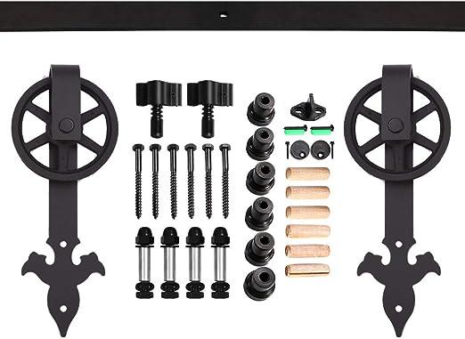 CCJH 4FT-122cm Quincaillerie Kit de Rail Roulette pour Porte Coulissante Ensemble Industriel Hardware kit pour Une Porte Suspendue en Bois