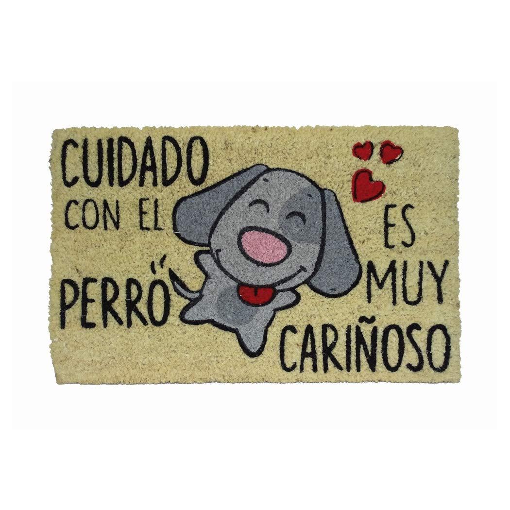 Koko Doormats Cuidado con el Perro, Felpudo Divertido y Original para Entrada de Casa, PVC, Coco, 40 x 60 cm