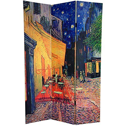 Oriental Furniture 6 ft. Tall Double Sided Works of Van Gogh Canvas Room Divider - Cafe Terrace/View of Arles by ORIENTAL FURNITURE (Image #1)