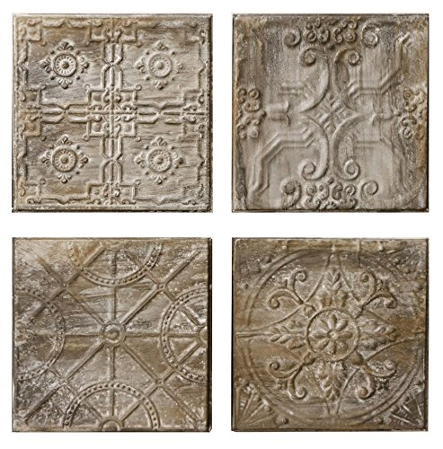 4 Pc Embossed Tin Tiles with an Antique Finish by Creative Co-op