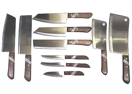 Juego de 10 cuchillos de cocinero Kiwi marca Tailandia ...