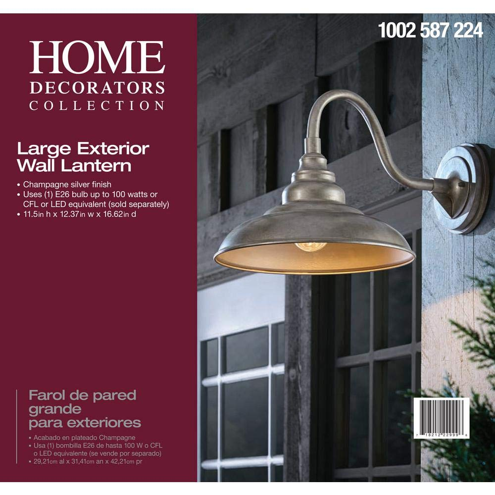 Home Decorators Collection 1-Light Champagne Silver Outdoor Wall Mount Barn Lantern - - Amazon.com