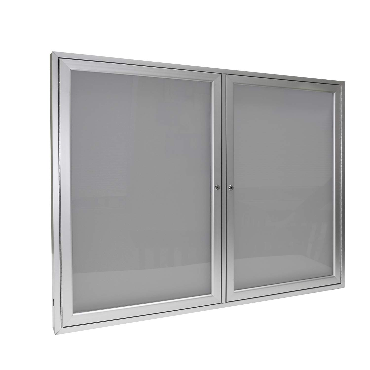 Ghent 2 Door Enclosed Vinyl Bulletin Board, Silver
