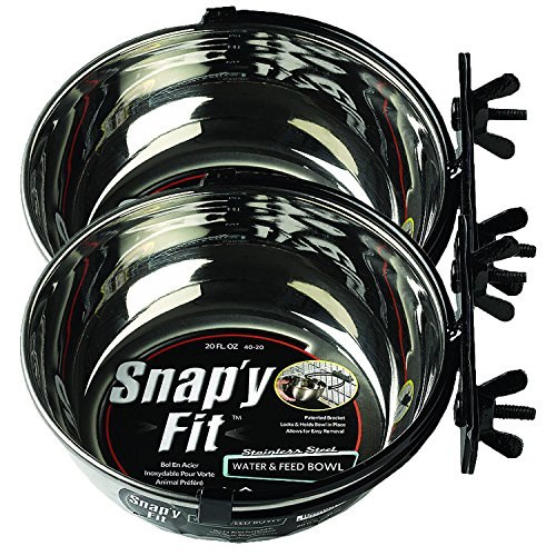 MidWest Homes for Pets Snap'y Fit Food Bowl / Pet Bowl, 20 oz. for Dogs, Cats & Small Animals (2 - Puppy Steel Cage