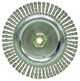 Weiler Dualife Narrow Face Wire Wheel Brush, Threaded Hole, Steel, Stringer Knotted, 6-7/8'' Diameter, 0.020'' Wire Diameter, 5/8-11'' Arbor, 1-1/8'' Bristle Length, 3/16'' Brush Face Width, 9000 rpm