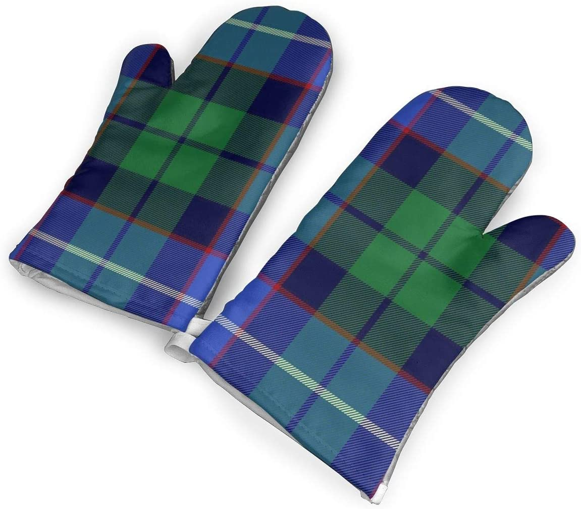 Victoria-Ai Tartan Russell Mitchell Hunter Galbraith Tartan Oven Mitts Premium Heat Resistant Kitchen Gloves Non-Slip Easy to Use Baking Mittens for BBQ/Cooking/Grilling
