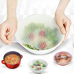 Colorsa 4PCS Miracle Wrap Reusable Silicone Food Wrap Saver Lids Seal Cover Stretch Cling Film Fresh Food Saver Kitchen Helpers Silicone Food Stretch Cover Placemat (White)