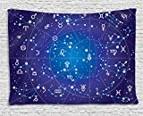 Astrology Decor Tapestry by Ambesonne, Constellation of Zodiac and Planets Original Collection Coordinates of Celestial, Wall Hanging for Bedroom Living Room Dorm, 60WX40L Inches, Indigo Royal BLue