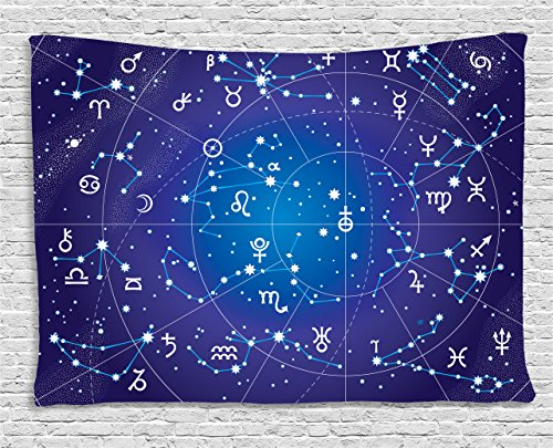 Royal Blue Art (Ambesonne Astrology Decor Tapestry, Constellation of Zodiac and Planets Original Collection Coordinates of Celestial, Wall Hanging for Bedroom Living Room Dorm, 60 W X 40 L, Indigo Royal BLue)