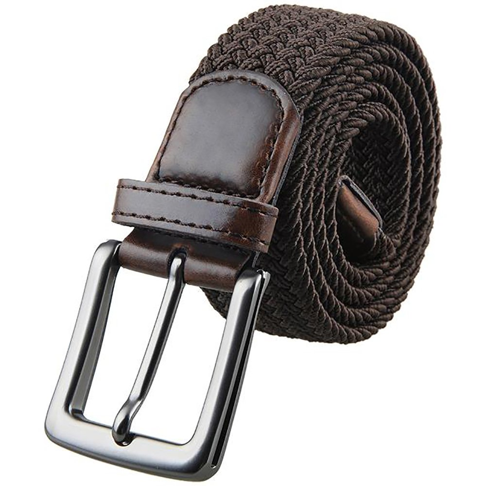 Julongcul Canvas Elastic Fabric Woven Stretch Multicolored Braided Belts Coffee