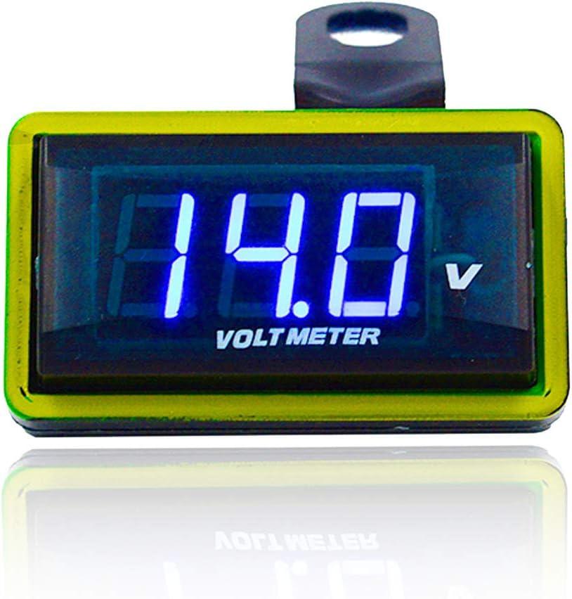 Yiwa Voltímetro portátil Conveniente del indicador de voltio de Digitaces LED de la exhibición 12V para la Motocicleta del Coche 12V Rojo