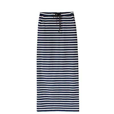 Abetteric Women's Loose Summer Maxi Striped Full/ankle Length Skirt