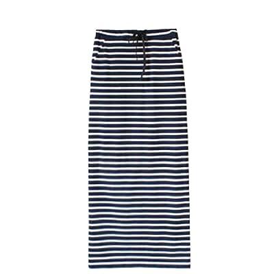 Abetteric Women's Loose Summer Maxi Striped Full/ankle Length Skirt