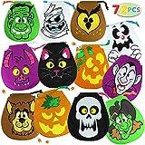 JOYIN Pack of 72 Halloween Drawstring Goody Bags for Halloween Treats Bags, Halloween Party Favors, Halloween Party Supplies