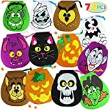 Halloween Drawstring Goody Bags for Trick-or-Treat Bags Includes 72 Pieces (7 ¾ inches) Drawstring Trick or Treat Plastic Candy Goodie Bags.     Halloween Goodie Bags Include Pumpkins Girl, Pumpkins Boy, Witch, Vampire, Wolfman, Skeleton, Black C...