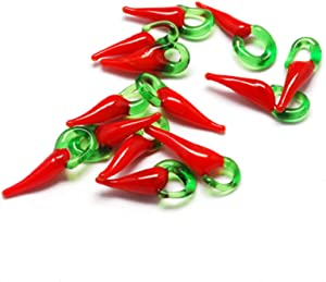 Craftdady 50Pcs Vegetable Food Lampwork Glass Charm Bead Large Hole Handmade Red Chili Pepper Dangle Bead Pendant 21x8mm for Jewelry Bracelet Necklace Making Hole:4mm