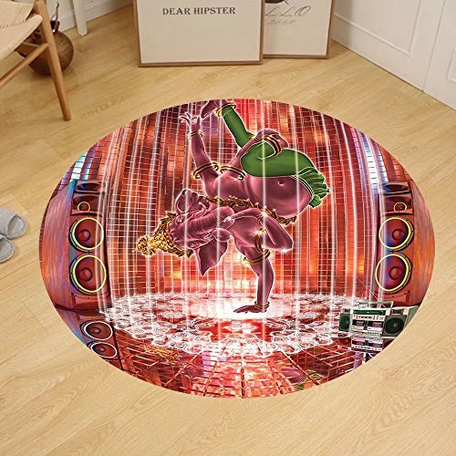Gzhihine Custom round floor mat Animal Decor Ethnic Elephant Dancing Rocking the Dance Floor with its Meditating Moves Print Bedroom Living Room Dorm Multi by Gzhihine