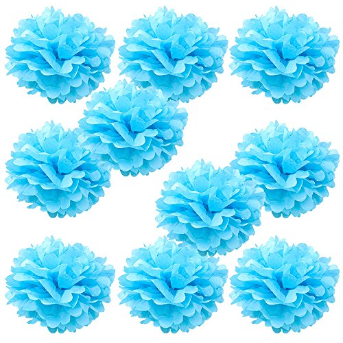 light blue pom pom decorations - 6