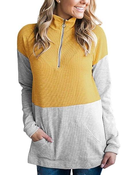 Camisas Mujer Pullover Primavera Otoño Fashion Chic High Collar con Cremallera Sudadera Vintage Manga Larga con Bolsillos Streetwear Swag Tops Sudaderas: ...