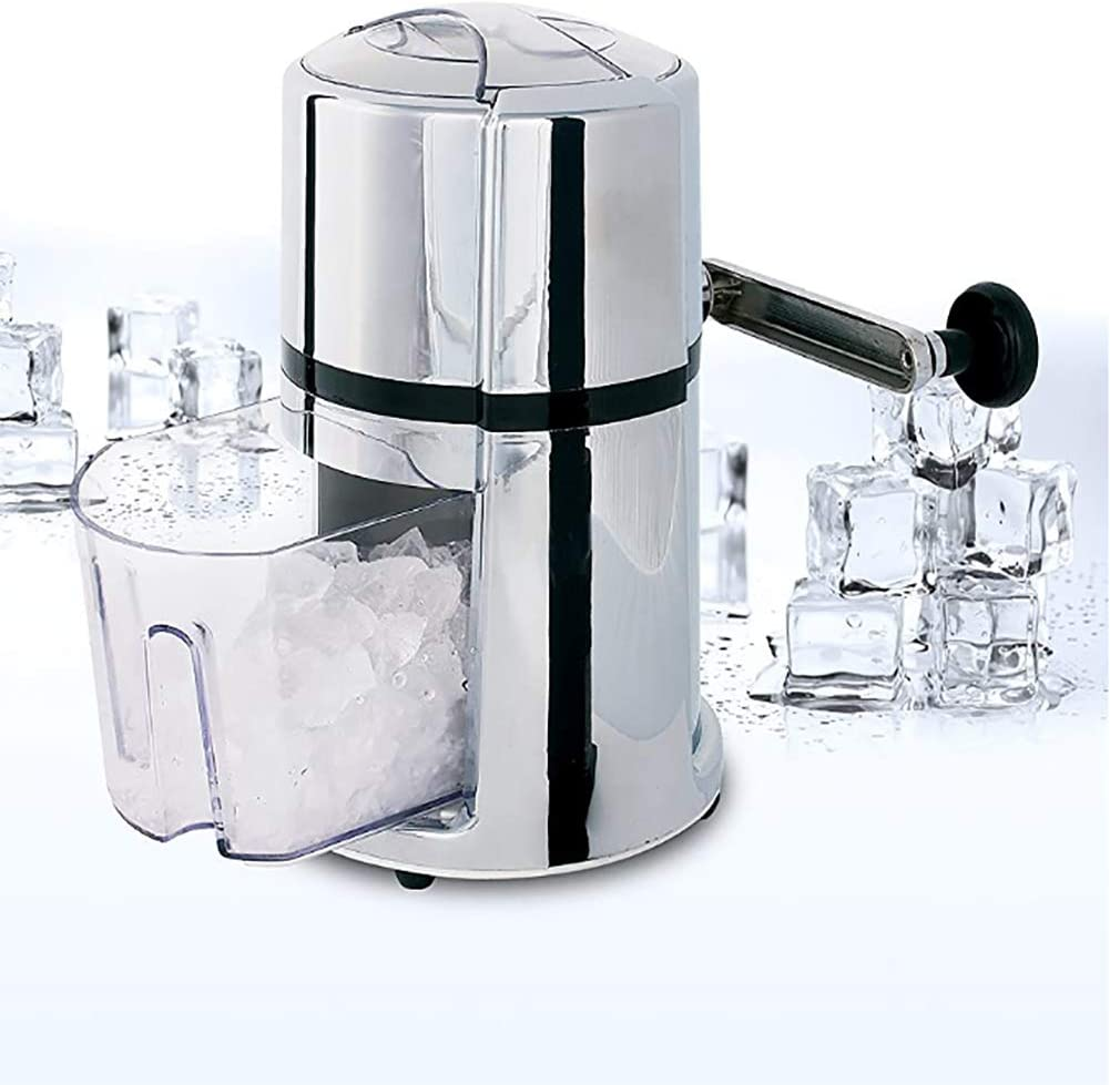 ALY Shaved Ice Machine, Hand Crank Operated Transparent Ice Breaker with Stainless Steel Blades for Fast Crushing