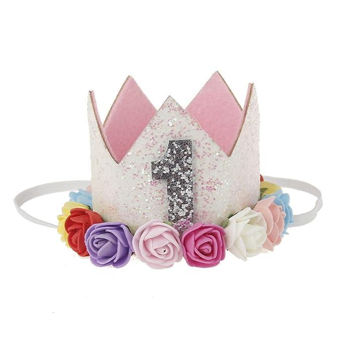 EUKK 1 2 3 gorras de cumpleaños corona de flores 1er cumpleaños ...
