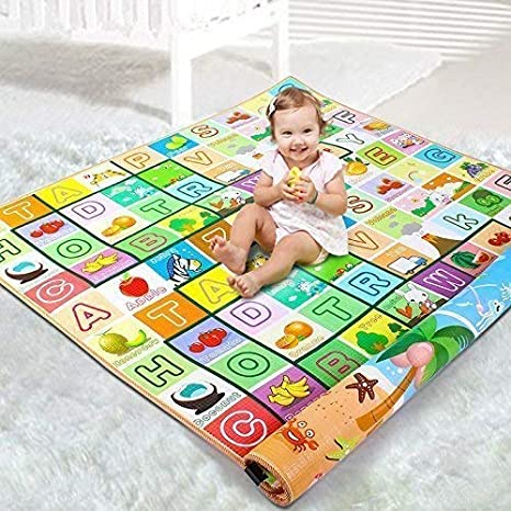 Maharaj Mall Waterproof Double Side Play Crawl Floor Mat with Zip Bag to Carry for Babies (Multicolour, Large, 6.5 X 6 Feet)