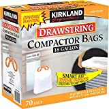 "Kirkland Smart Fit Gripping Drawstring Compactor Bags Trash Bags,White ,18 Gallon, 70 ct ,Thickness: 2.0 mil ,Dimensions: 25.625"" x 28"""