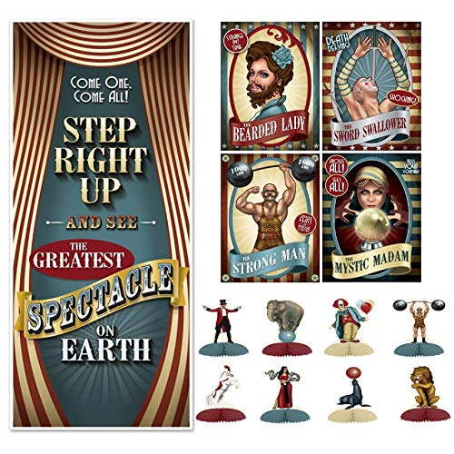 Freak Show Halloween Party (Beistle Vintage Circus Party Decorations Kit with Poster Cutouts, Door Cover, and Mini)