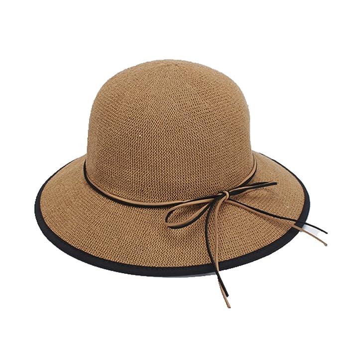 c728035669f64 AOBRITON Women Elegant Wide Brim Sun Hats Bow-Knot Summer Cap Ladies Beach  Hat Chapeu at Amazon Women s Clothing store