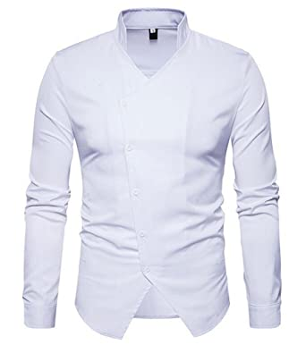 79712aff Cafuny Mens Stand Collar Casual Oblique Placket Button Down Dress Shirt XXL  White: Amazon.co.uk: Clothing