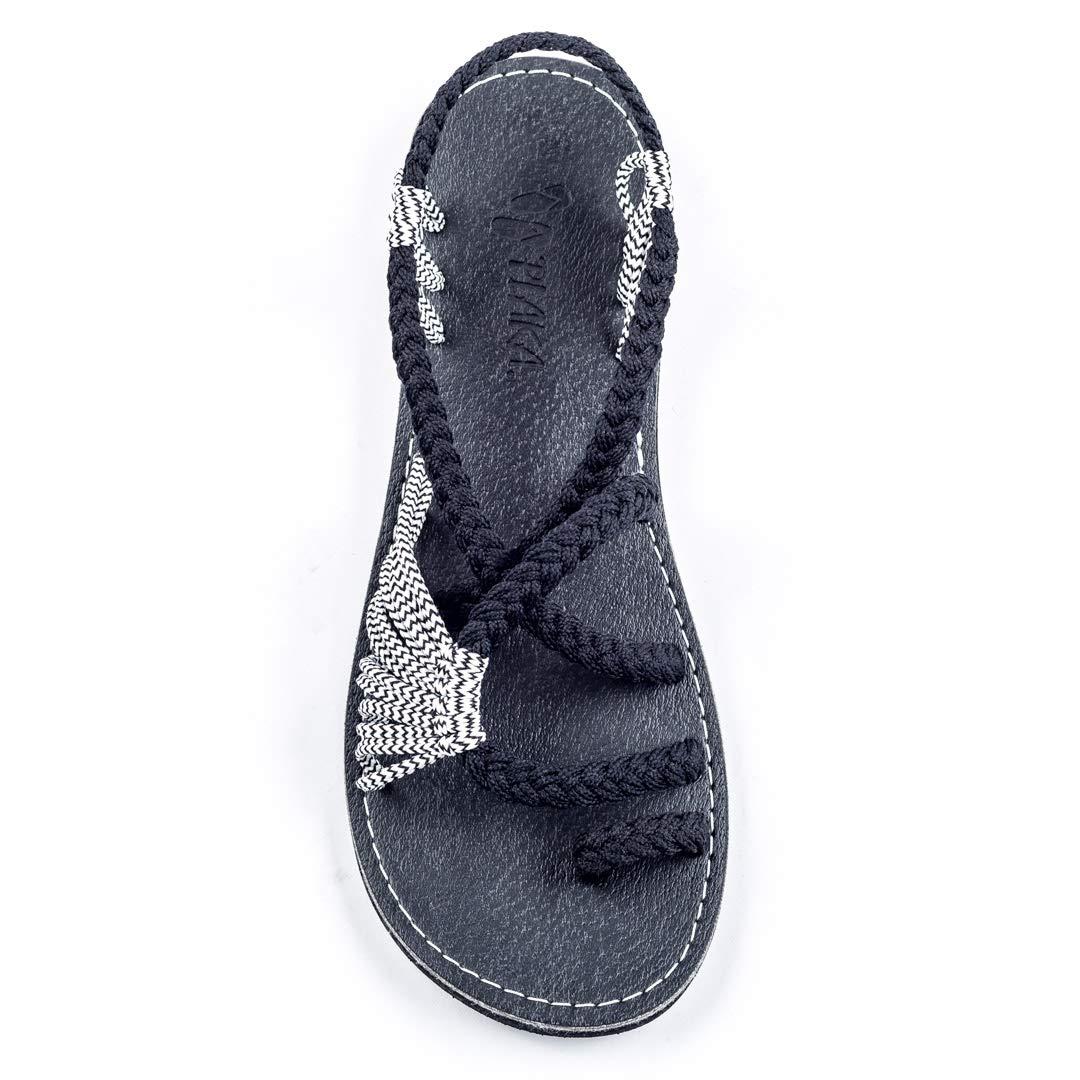 Black Zebra Plaka Summer Sandals for Women by