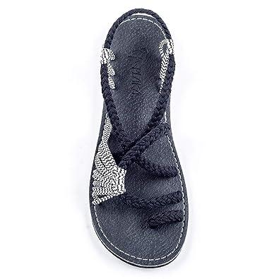 e8d6ee8e448 Plaka Flat Summer Sandals for Women Black Zebra 5 Palm Leaf