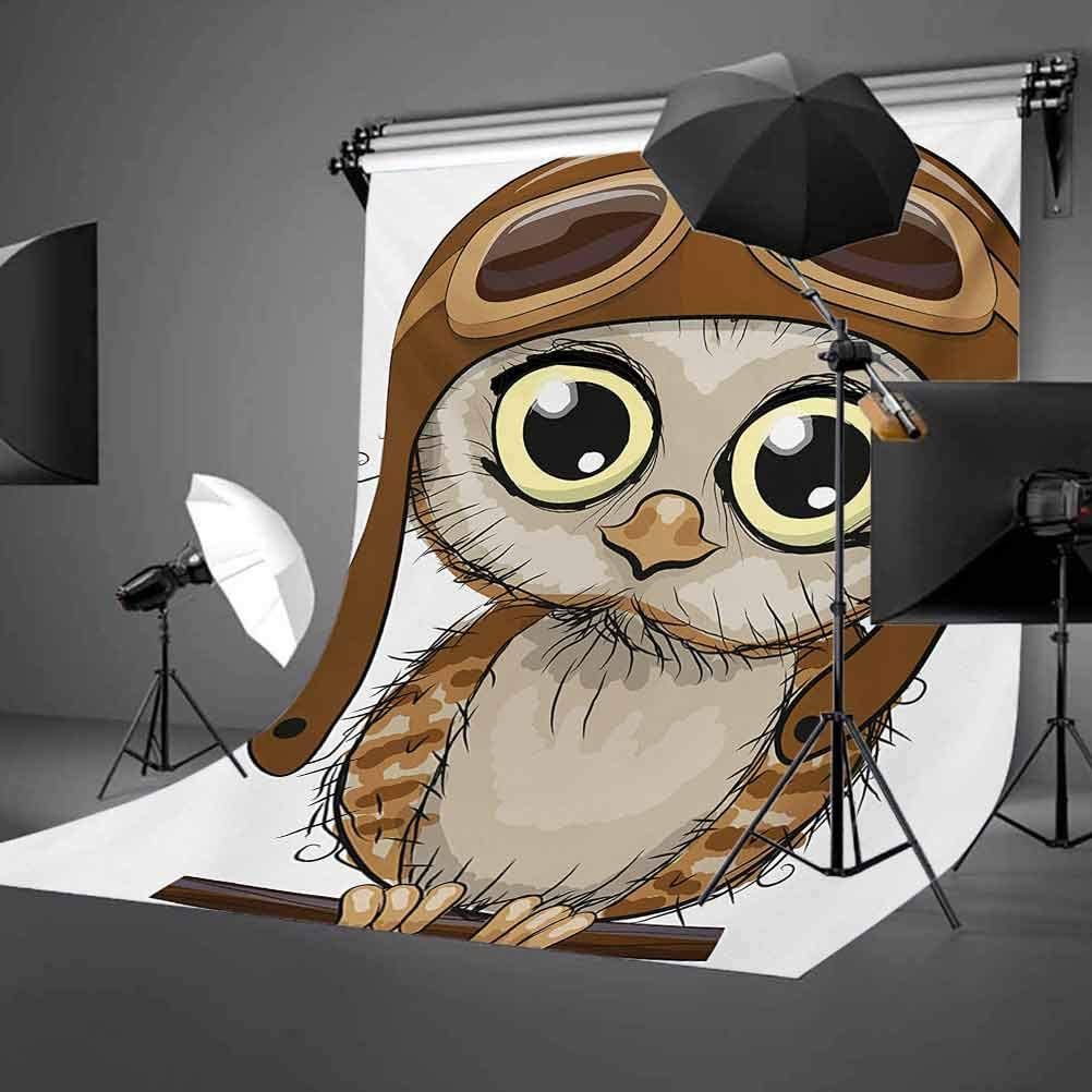 Owls 10x12 FT Photo Backdrops,Owl in Pilot Hat Big Eyes Caricature Characters Wildlife Humor Comic Artistic Background for Child Baby Shower Photo Vinyl Studio Prop Photobooth Photoshoot