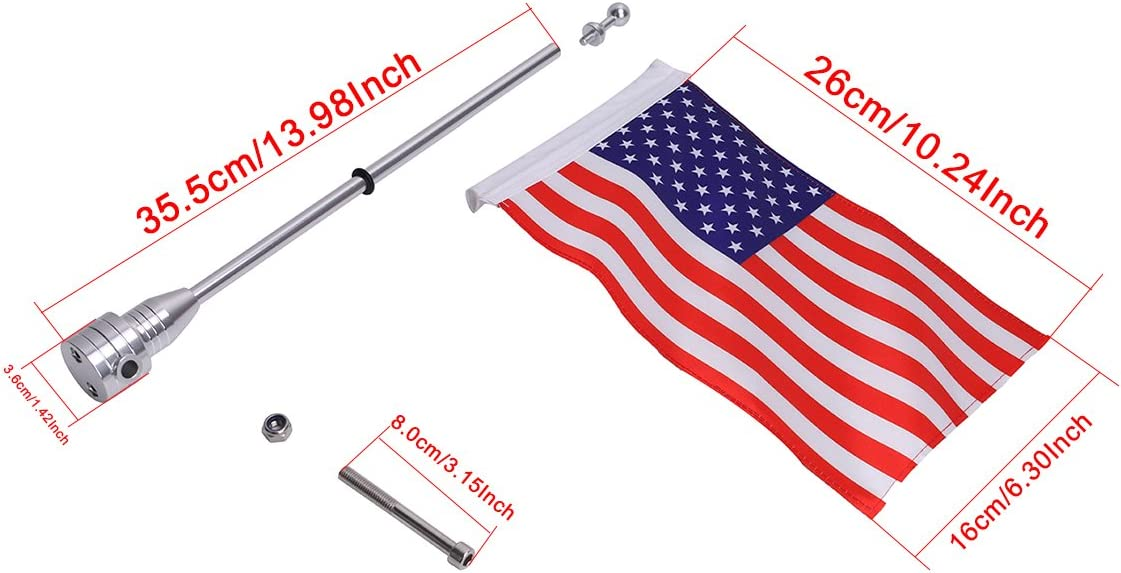 buyinhouse Rear Motorcycle Flag Pole Mount 6 x 9 POW MIA You are Not Forgotten Flag Fit for 1//2 Round Luggage Rack,for Honda Goldwing CB VTX CBR Yamaha Harley Davidson