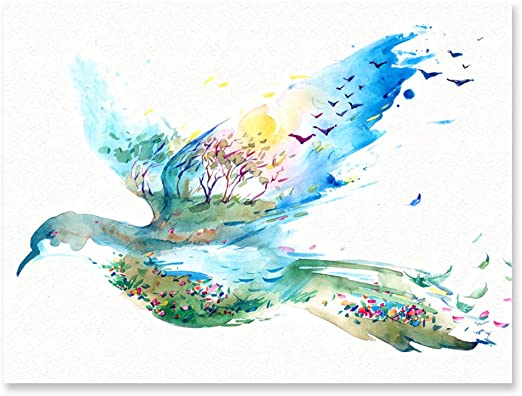 Amazon Com Purple Verbena Art Hand Painting Watercolor Flying Birds Colorful Pictures Abstract Artwork Canvas Print Wall Art For Kid S Room School Office Bar Birthday Gift Wood Framed And Streched 12x16 Inches Posters