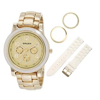 f64a32c8e6951 Embassy by Gruen Women s GU002LS Gold Tone Interchangeable Watch Set   Amazon.co.uk  Watches