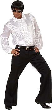 NET TOYS Camisa Disco Blanca años 70 80 Camisa con Volantes Blanca M/L 46/52 Camisa Volantes Camisa Disco Camisa satén: Amazon.es: Juguetes y juegos