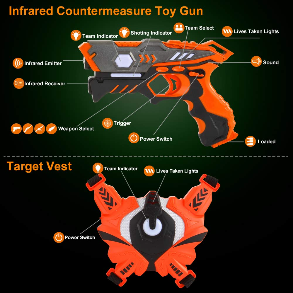 Laser Tag Guns Set with Vests, Infrared Guns Set of 4 Players by LUKAT (Image #6)