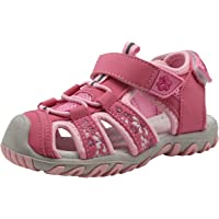 Apakowa Baby Little Girls Summer Closed Toe Athletic & Outdoor Hiking Beach Sandals Kids Touch Fastening Sports Trail Sandals