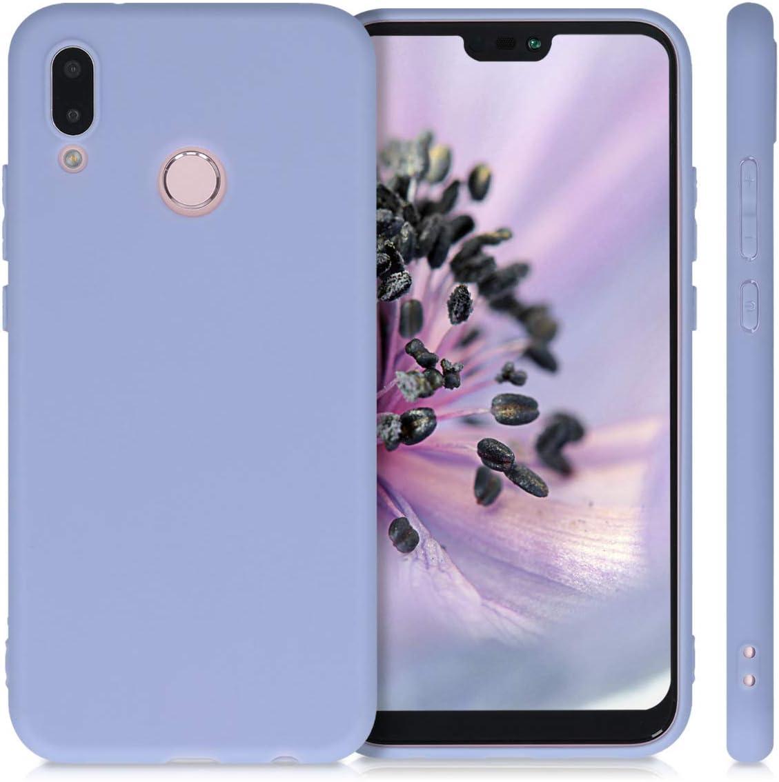Protector Trasero en Azul Claro Mate Carcasa de TPU Silicona kwmobile Funda Compatible con Huawei P20 Lite