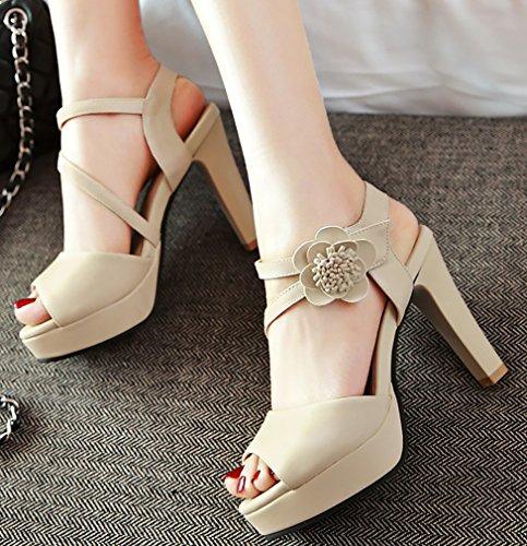 De Et Crochet Bloc Calaier Talon Boucle Sandales Femmes À Beige Chaussures 10cm Ouvert Salsh Bout pYUwUTq0zH