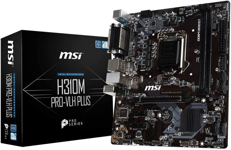 MSI ProSeries Intel Coffee Lake H310 LGA 1151 DDR4 HDMI Onboard Graphics Micro ATX Motherboard (H310M PRO-VLH Plus)