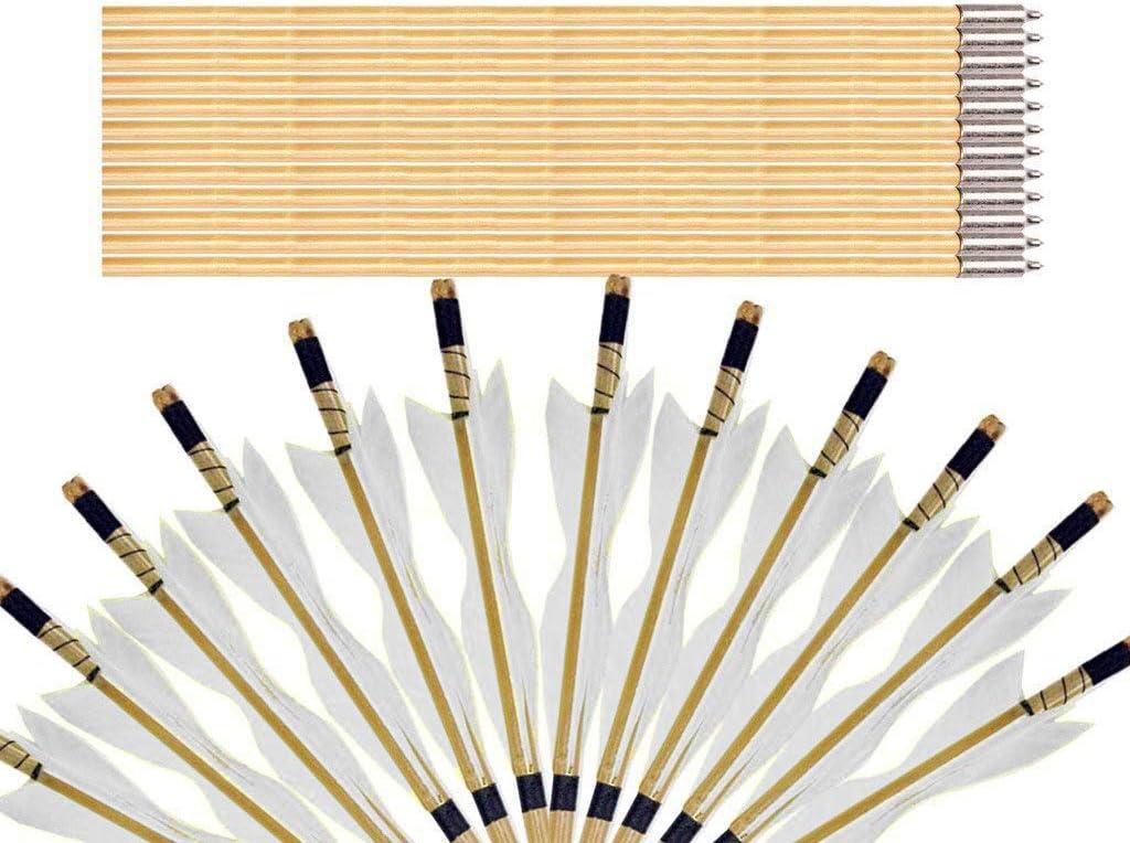 Sports Funshop 12er 32 Traditional Holzpfeile aus Bambus Handmade mit Alu Gewindevorschneider f/ür Broadheads f/ür langbogen und Recurvebogen Bogenpfeile