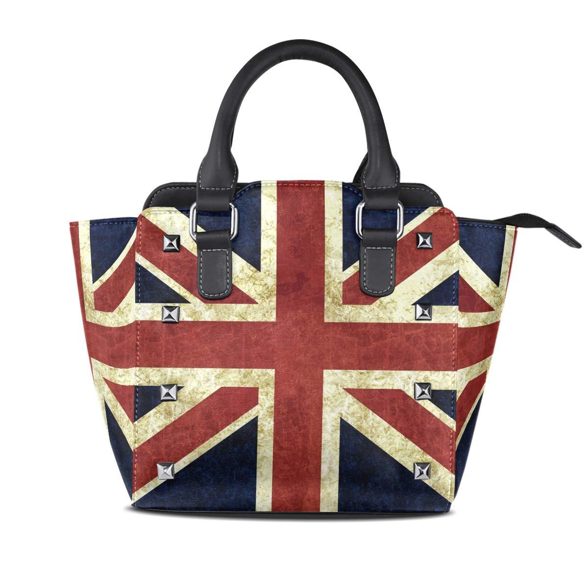 Design3 Handbag Black Leopard Genuine Leather Tote Rivet Bag Shoulder Strap Top Handle Women