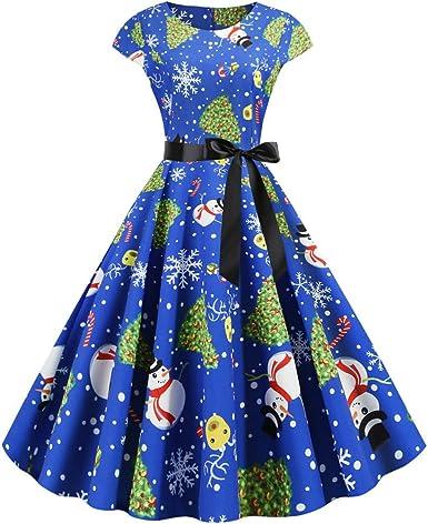 Goosun Vestidos De Navidad Mujer Vestido Santa Impresión Vintage ...