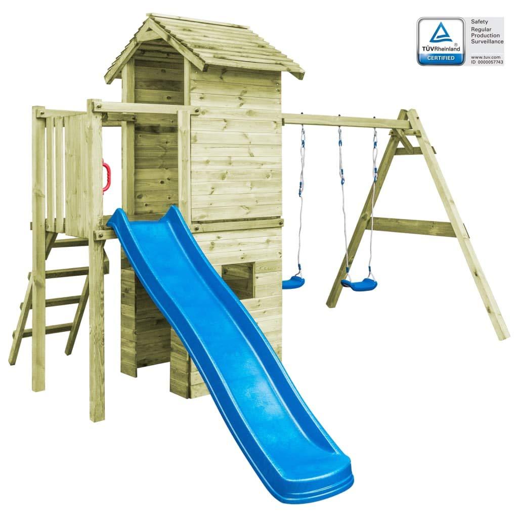 Arichtop vidaXL Spielturm mit Leiter Rutsche Schaukeln 390x353x268 cm Holz