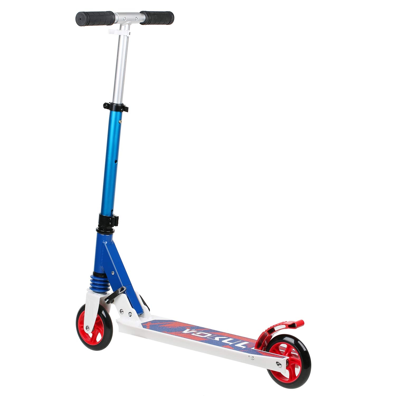 143lbs Capacity VOKUL Kick Scooter for Kids Boys Girls Ages 6-12 Adjustable Foldable Kick Scooter with Faster Big 125mm Scooter Wheels and Suspension Design